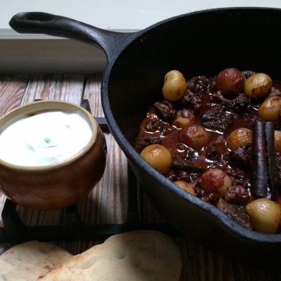 Greek Beef Stew topped with Greek Yogurt