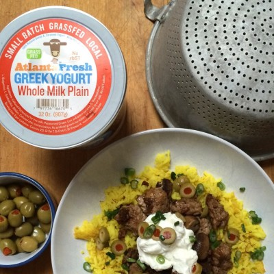 Turkey & olives skillet served over saffron rice topped with Greek Yogurt